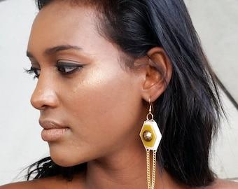 Geometric long dangle earrings, gold large earrings, earrings for event, bold unique earrings, contemporary unusual jewelry