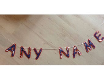 Handmade appliquéd bunting. Pirate themed. Any name, colours can be changed to suit.
