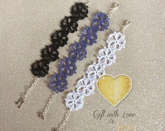 Free standing lace bracelet. Various colours and charms. Wedding, festival,  gift, girls, women. Made in Scotland.