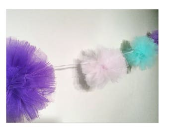 Handmade pom pom tulle garland. Garden, photo shoot, nursery, baby shower. Purple, blue, white. Made in Scotland.