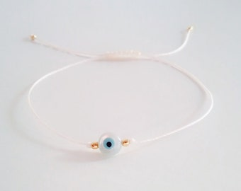 Mother of Pearl Evil Eye Bracelet, Evil Eye Bracelet, Everyday Bracelet