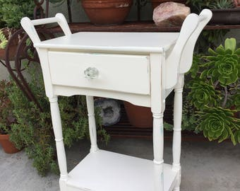 Shabby Chic White Nightstand, Vintage Wood End Table, Distressed End Table, Bedroom Decor, Side Table with Drawer,End Table with Handles