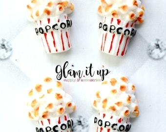 Popcorn bow Center- popcorn Flatback resin- popcorn cabochon-popcorn bow supply