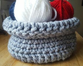Blue crochet soft basket.