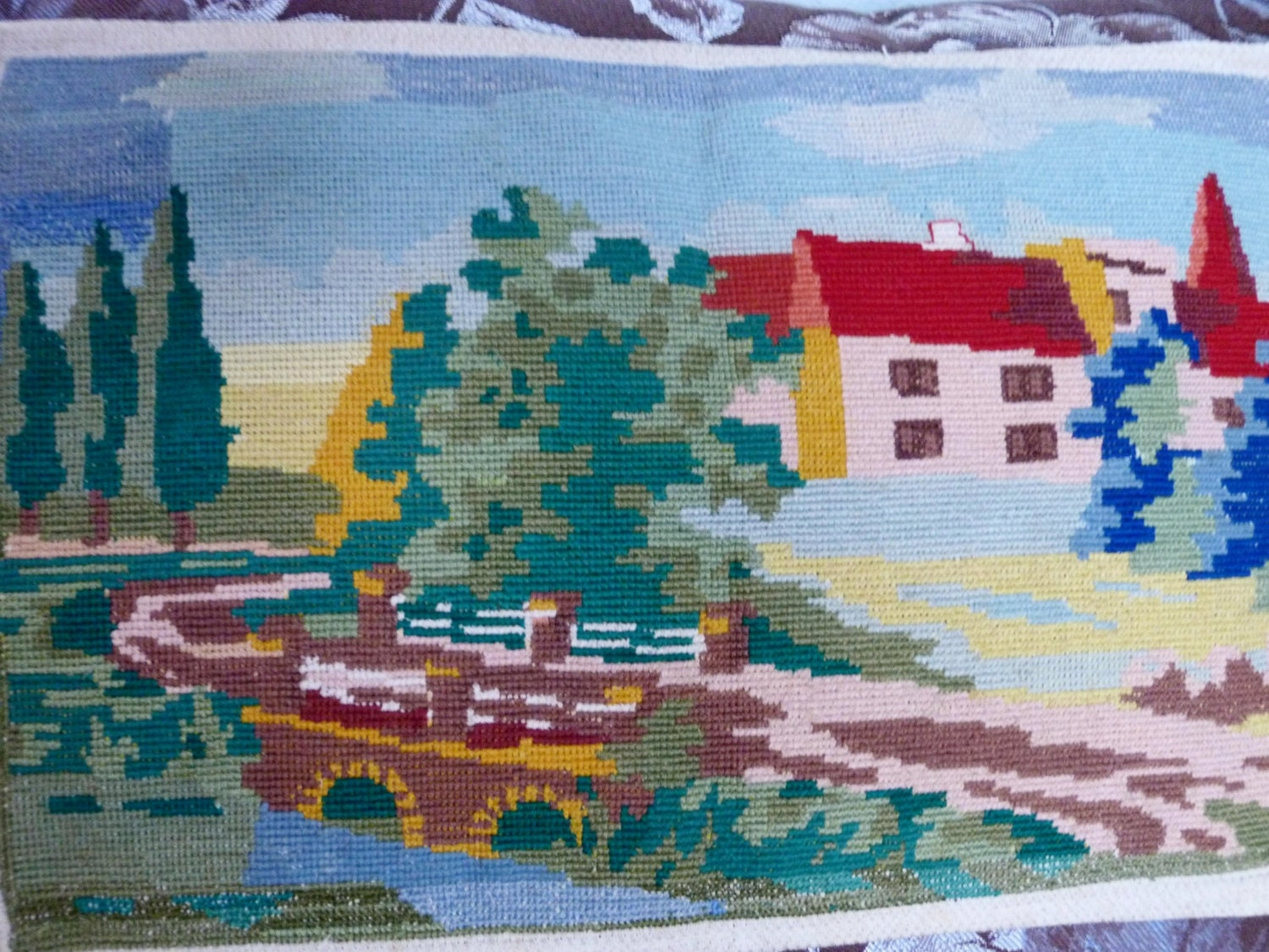 Vintage ukrainian embroidery embroidered picture little town