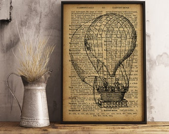 Hot Air Balloon Print, Vintage Hot Air Balloon Dictionary Art Print, Meteorological Observations vintage illustration, Weatherman gift (A09)