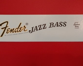 Fender Jazz Bass 70's Style Waterslide Decal Metallic Gold Border