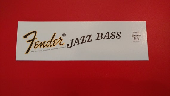 Fender Jazz Bass 70's Style Waterslide Decal Metallic Gold Border - Two custom waterslide decals