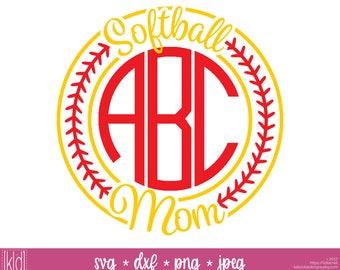 Softball Monogram svg - Softball Mom svg - Softball svg -  Softball Stitches - Softball Frame svg - Monogram Frame svg - Softball svg file