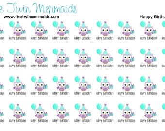 Happy Birthday Owl Planner Stickers