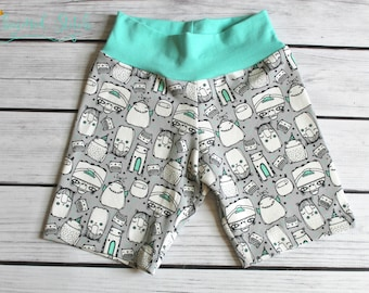 quirky doodle characters, organic shorts size 18m, organic cotton, Bermuda shorts