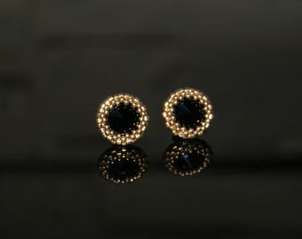 Small earrings with SWAROVSKI Crystals Black JET & Japanese beads 24kt Gold Plated