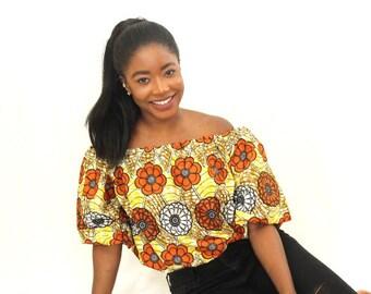 African off shoulder, Off shoulder top, African print off shoulder, Ankara Off Shoulder, Ankara Top,  African top, African clothing, Brown