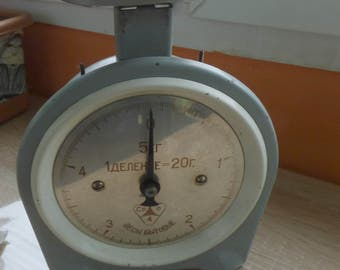 Vintage Russian Mechanical Metric Scale 5Kg,  Household Scale,  Home Decor