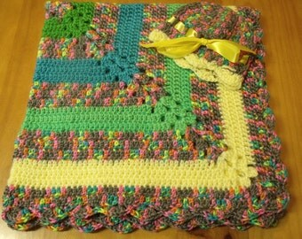 "NEW Handmade Crochet 28"" Baby Blanket and Hat/Beanie Set - Rainbow Stripe Variegated - A Wonderful Baby Shower Gift!! - SEE NOTE!"