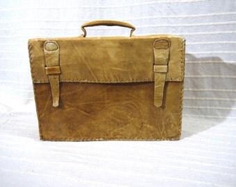 Vintage leather suitcase | Etsy
