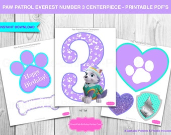 Number 3 paw patrol etsy for Number 3 decorations