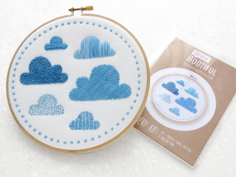 Embroidery Sampler Fabric Pattern, Clouds Hand Embroidery Kit, Modern  Needlework Pattern, Beginners Hoop Art Pattern, Diy Nursery Decor