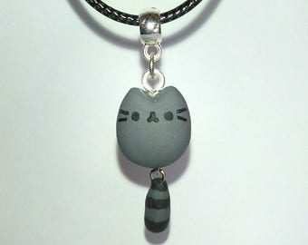 Polymer clay little pusheen necklace with mobile tail black leather