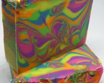 Kaleidosoap: Psychedelic soap, Goat milk soap, handmade soap, cold process soap, swirl soap, green tea soap, luxinda swirl soap