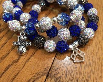 Beaded Bracelets-Rustic Shamball (disco) beads custom made orders (set of 3)