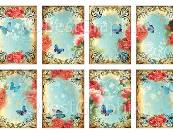 Flowers in December 8 Digital Images for ATC, Aceo cards ATC Printables Digital Tags Butterfly Vintage papers Old Blue paper Roses Printable