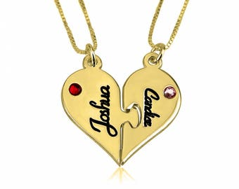 Name Necklace 24k Gold Plated Personalized Customized Breakable Heart Couple Necklace Set