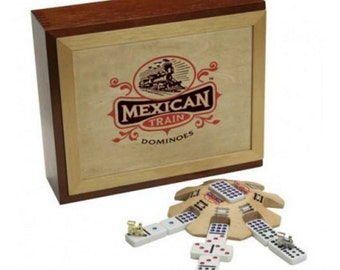 Mexican Train Deluxe Domino Set In Collectible Wood Case