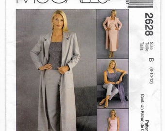Misses Duster Jacket Top Pants Skirt - Women Sewing Pattern - Size 8-10-12  McCall's 2628 UNCUT