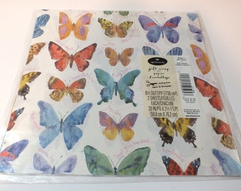 Vintage Wrapping Paper Hallmark Butterfly All Occasion Gift Wrap Butterflies Colorful