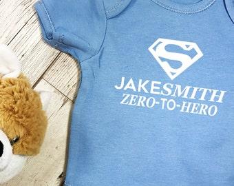 Zero to Hero Baby grow vest Superhero Personalised short sleeved bodysuit