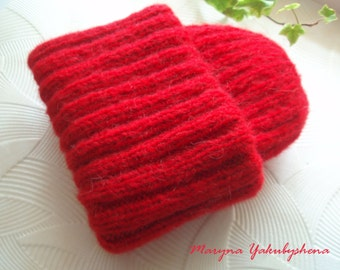 Red knit hat Hat mohair Knitted mohair cap Fashionable hat Hand knitted mohair accessories handmade Hat for her