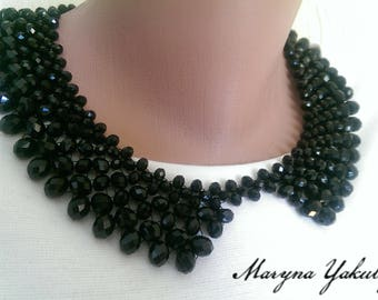 Collar bead necklace Handmade beads necklace Detachable Lady collar Necklace Black collar Neck lace is very elegant