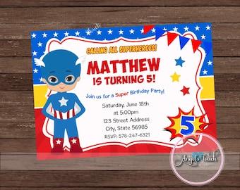 Superhero Captain America Party Invitation, Captain America Invitation, Captain America Boy Birthday Invitation, Superhero, Digital File