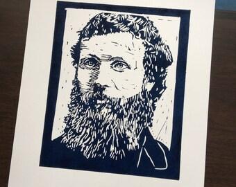 John Muir, a Linocut Portrait, Hand Made, Hand Printed