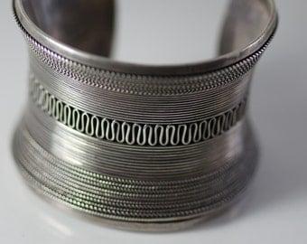 Boho Sterling Silver Vintage Statement Cuff TJ 32
