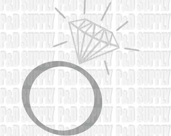 Diamond Ring svg, eps, pdf, dxf, jpg, png, .studio3 - Digital Cut file for Cricut or Silhouette R2