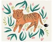 Tiger in the Jungle Art Print, Gouache Illustration, Kids & Baby, Wall Decor, Wall Art, Tiger Art Print, Animal Art Print, Nursery Art