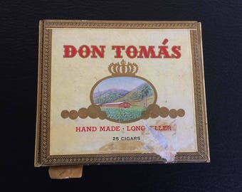 Don Tomas Handmade Long Filler Empty cigar box with paperwork