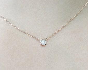 Diamond Solitaire Necklace, Diamond Necklace, Natural Brilliant Cut Bezel Diamond Necklace, Minimalist 0.07 Ct. Bezel Set Diamond Necklace