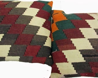 Pair of Vintage Turkish Hand Woven 100% Wool Kilim Cushion Covers (Pillows) Size 45 cm x 45 cm