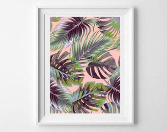 Pink palm leaf print - palm print - palm leaf print - palm tree - botanical print - tropical poster - botanical art