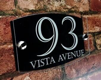 Modern Contemporary Property Number Door Sign Plaque (EMA5-24W-B-C)