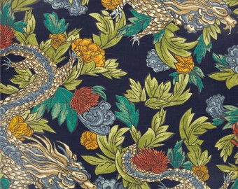 Dragon Pillow Cover, Indigo, Navy Blue, Floral, Orange, Yellow, Green, Grey, Blue, Throw Pillow, Modern, SummerHome, Botanical, Chinoiserie