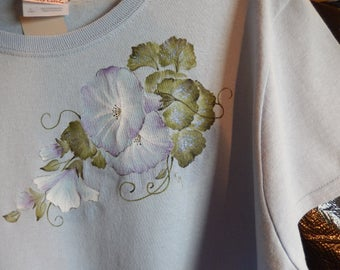 Hand-painted Morning Glories on Pale Blue T-Shirt