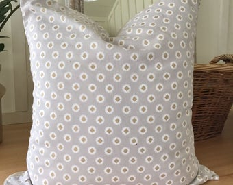 Gray Pillow Cover with Gold Design