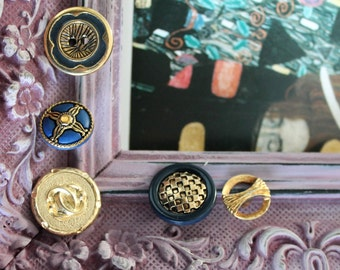 5 buttons vintage of 2.3 cm in diameter to 1.7 cm, blue and gold buttons, buttons bag,.