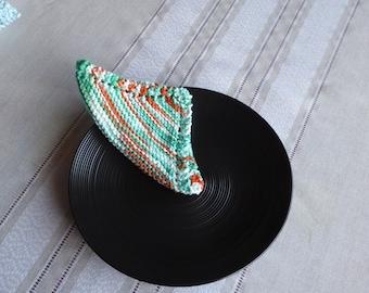 Green cotton cloths, Hand knit cotton dish cloths,  Cotton bath cloths