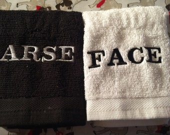 Novelty Arse/Face Embroidered Face Cloth Set **Ideal Gift**