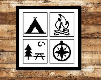 Travel Symbols Camping Outdoors: Tent, Campfire, Compass, Picnic Bench [Cross Stitch Pattern] **Download PDF Pattern Only-Instant Download**